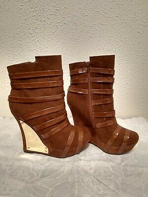 Womens Brown Tan Faux Patent Leather Faux Suede Wedge Heels 5 12 heel size 9