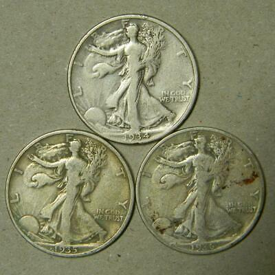 3 COINS 1934 P, 1935 P, 1936 S WALKING LIBERTY 90% SILVER #4950