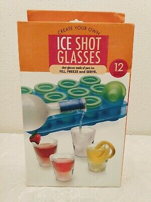 Ice Shot Glasses Made Pure Ice with Serving Tray Makes 12