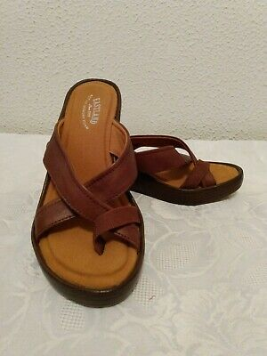 Womens Eastland Willow Brown Wedge Soft Faux Leather Strappy Sandals size 7M