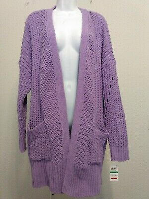 Womens Style Co Purple Knit Sweater Jacket Long Sleeve Solid Pockets NWT Size L