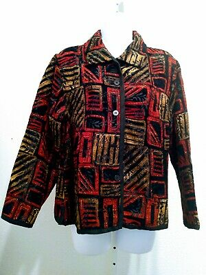Womens Coldwater Creek Black Red Gold Print Patchwork Jacket NWT Size P S