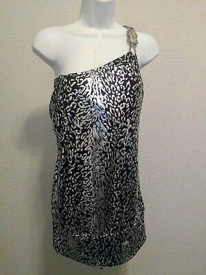 Womens Black Silver Tone Embellished Cold One Shoulder Top NWT Plus Size 3X