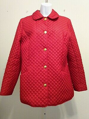 Women Red Quilted 346 Brooks Brother Jacket Lined Collar Pockets 21 PP 29 Long