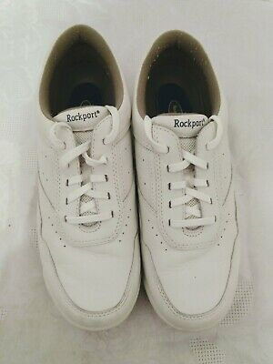 Womens Rockport White Leather Lace Up Sneakers Size 8