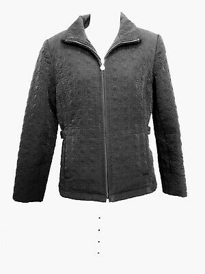 Womens Black Gallery Quilted Lined Collar Zip Pockets Jacket Size S