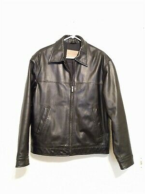 Mens Guess Marciano Black Leather Zip Lined Coat Jacket size M