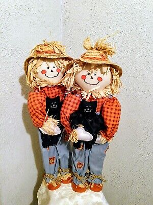 Scare Crows Wooden Halloween Straw Figures with Black Cat Straw Hat 21 set 2