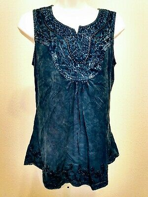 Womens North Style Blue Sleeveless Embroidered Pull Over Tank Top Size M