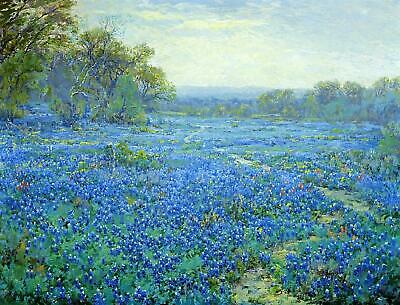 high quality oil painting handpainted on canvas bluebonnet scene