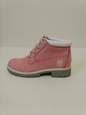 Womens Timberland Pink White Suede Genuine Leather Ankle Lace Up Boots size 6 M