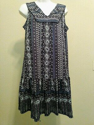 Womens Style Co Blue Tile Print Dress Short Sleeve Lined NWT size P M