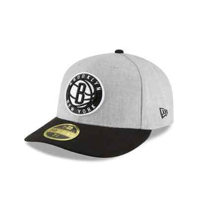 Brooklyn Nets NBA New Era Authentic Low Crown 59FIFTY Fitted Hat-GrayBlack