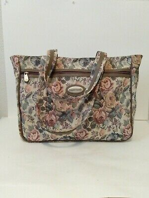 Womens Frequent Traveler Floral Print Zip Double Handle Large Overnight Bag