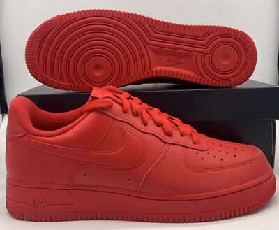 Nike Air Force 1 Retro 07 LV8 Low Triple Red Sneakers CW6999-600 Mens Size