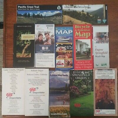 Oregon Maps- Bicycle Wineries Pedestrian - Pacific Crest Trail Maps-12 Total