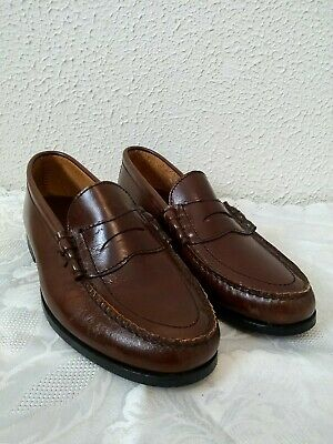 Mens Town Craft Brown Leather Genuine Hand Sewn Slip On Penny Loafer Shoes  8 D