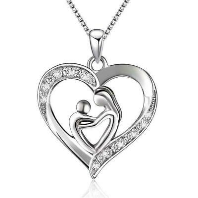 New Mothers Day Gift Mom Child Heart Pendant Chain Love Necklace Family Y4D4