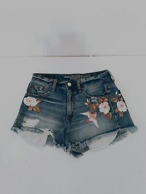 American Eagle Outfitters Hi Rise Festival Distressed Embroidered Denim Shorts 0