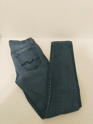 Womens 7 For All Man Kind Blue Giveneveie Denim Skinny Tapered Jeans size 29