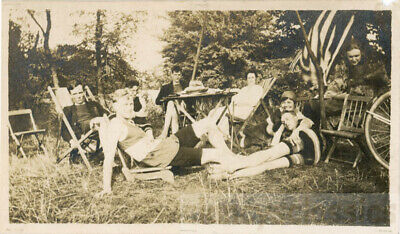 1920 Fourth of July 4th Picnic Party in Country w Flag