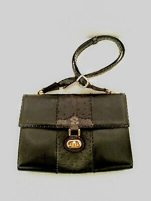 Womens Rozwadowski Exclusive Black Gold Tone Handcrafted Leather Shoulder Bag