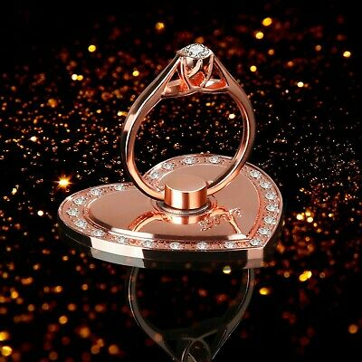 Rotating Finger Ring Stand Holder For Cell Phone iPhone Galaxy  ROSE GOLD HEART