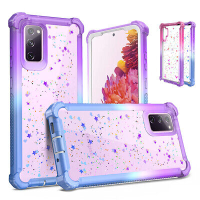 For Samsung Galaxy S9 S10 S20 Plus Note 20 Ultra Case Cute Clear Glitter Cover