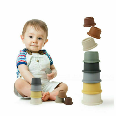 Baby Stack Stacking Cups Tower Set Folding Toddler Bath Toys Early Educational