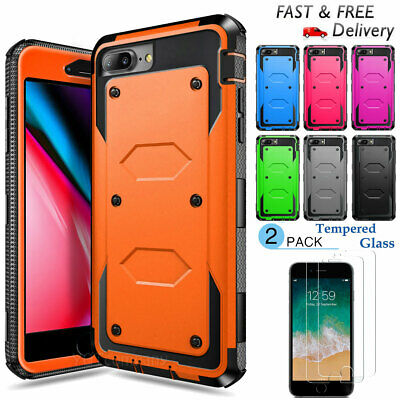 For Apple iPhone 77 Plus Shockproof Heavy Duty Case - Tempered Glass Protector