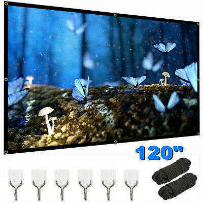 120 Foldable Projector Screen 169 HD Anti-Crease 3D Cinema Theater-Rope-Hooks
