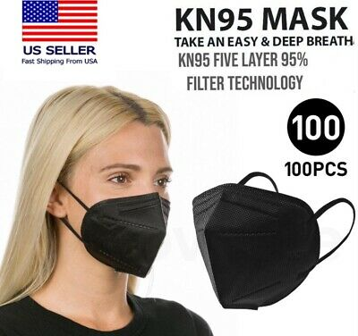 100200 Pcs Black Color KN95 Protective 5 Layer Face Mask Disposable K N95 Marks