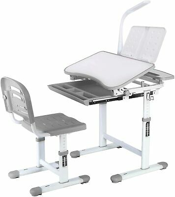 Children Kids Desk and Chair Set Adjustable Study Table with Drawer Touch Led