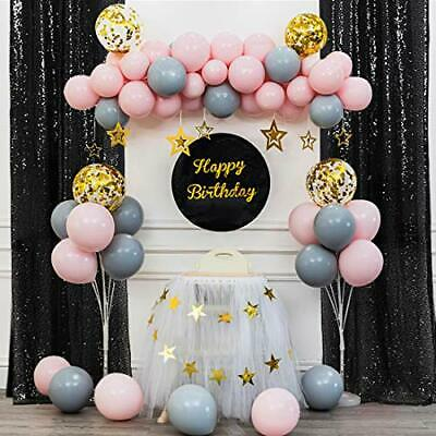 PartyDelight Black 2FT X 8FT Sparkly Sequin Backdrop Curtains 2 Panels for We-
