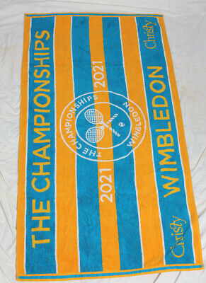 Wimbledon The Championship 2021 Christy Official Ladies Towel Yellow Blue