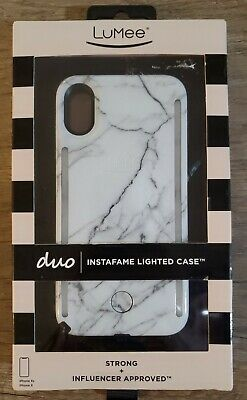 LuMee Duo Phone Case White Marble  Front - Back LED Lighting Variable Dimmer