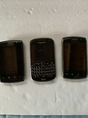 Lot of 3 BLACKBERRY CELL PHONES PARTS REPAIR UNTESTED Different Carriers