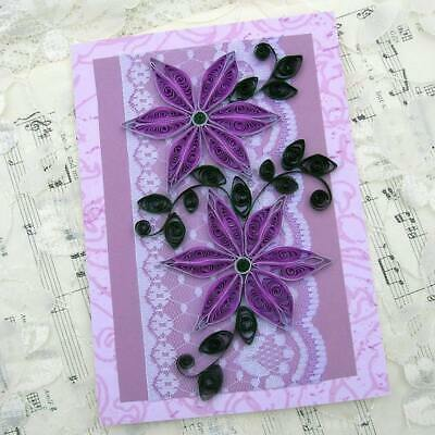 Quilling Flower Card paper handmade purple color daisies on lace