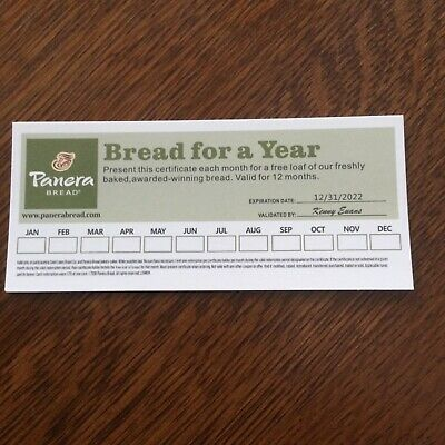 PANERA BREAD Gift Certificate  Gift Card Free Loaf of Bread Monthly For 1 Year