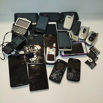 Mixed Lot Of  23- Cell Phones - Batteries Parts Only- LG Samsung Motorola Blkbry