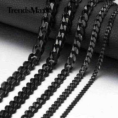 357911mm Black Stainless Steel Chain Curb Cuban Mens Necklace 18-36
