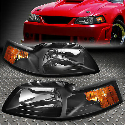 FOR 1999-2004 FORD MUSTANG PAIR BLACK HOUSING AMBER CORNER HEADLIGHTLAMP SET