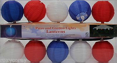 Fourth of July 10 Count Red White Blue Paper Ball Lantern String Light Set NIB