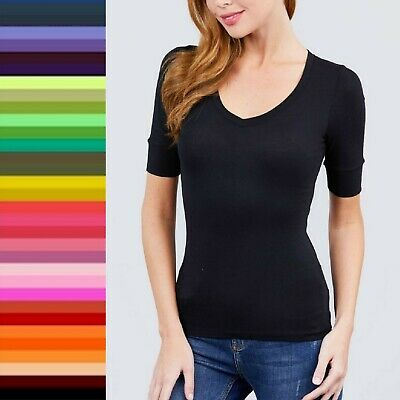 Womens V-Neck Elbow 34 Cuff Sleeve Basic T-Shirt Soft Stretchy Tee Top T9671