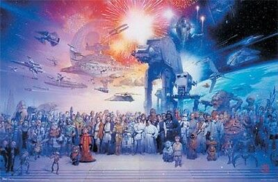 STAR WARS GALAXY POSTER WITH ALL CHARACTERS Size 24x36