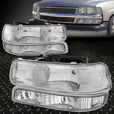 FOR 1999-2002 CHEVY SILVERADO CHROME HOUSING CLEAR CORNER HEADLIGHT UPPER-LOWER