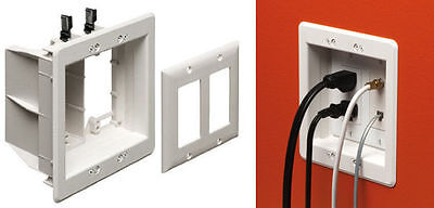 Arlington 2-Gang Recessed TV Box Wall Plate Low Voltage Power LCD TV Mount White