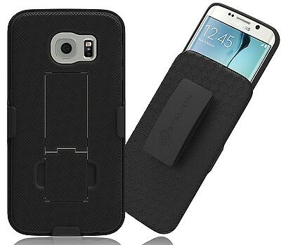 Stalion®Secure Belt Clip Holster Shell Case Kickstand for Samsung Galaxy S6 Edge