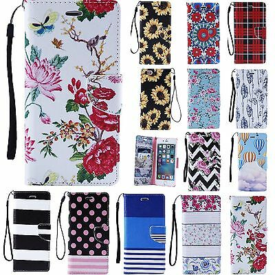 Pattern Magnetic Leather Wallet Case Stand Flip Cover For Apple iPhone 5 5S 6 6S