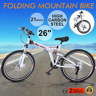 26 MOUNTAIN BIKE 21 SPEED WHITE SPORT SHIMANO MENS FOLDING BICYCLE OUTDOOR